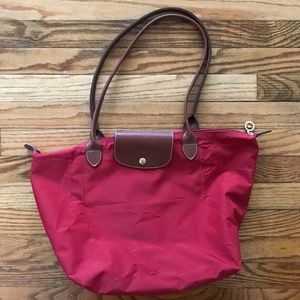Large red Longchamp Tote